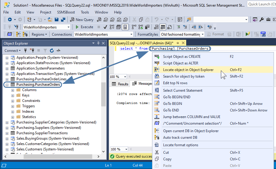 Locate objects in SSMS object explorer with SSMSBosst add-in