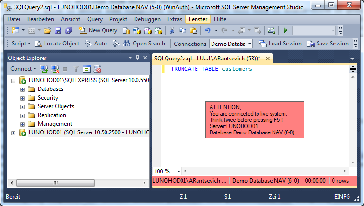 Important database alert in SSMS with SSMSBoost add-in