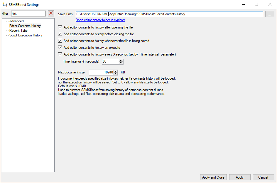 SQL Editor contents history: SSMS Boost Add-in for SQL