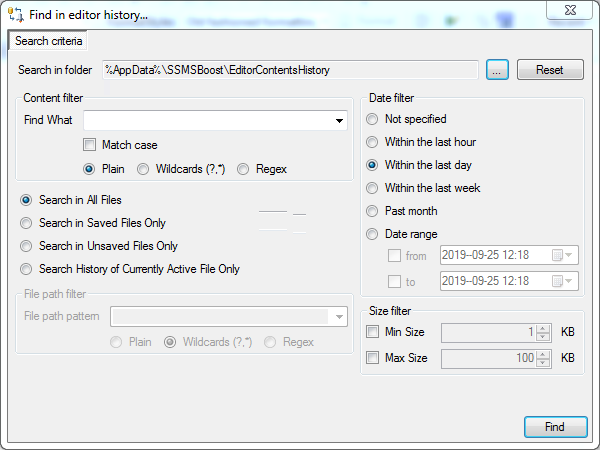 SSMS editor history search