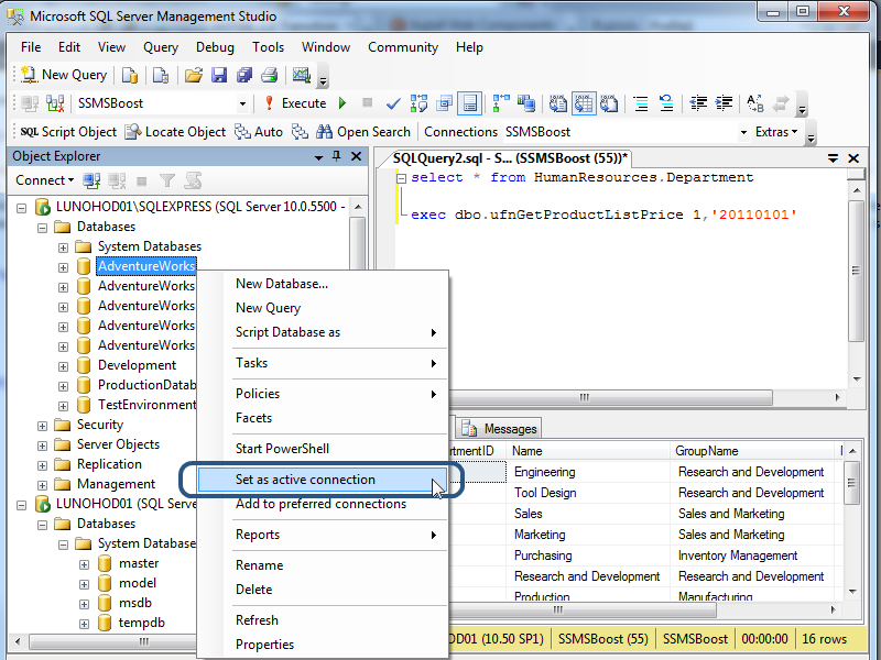 Script Object feature in SSMS